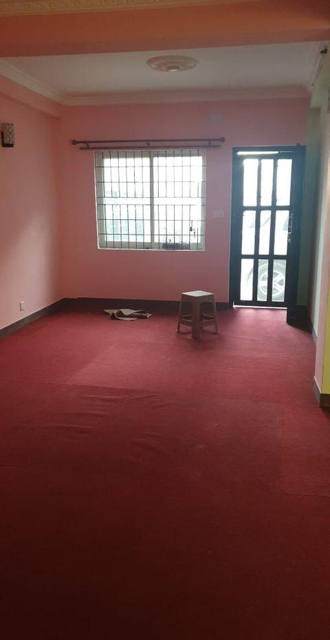 semi-furnished bedroom living room, kitchen, bathroom